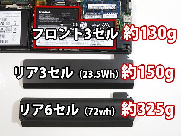 ThinkPad X260 バッテリー重量 フロント・6セル 3セル