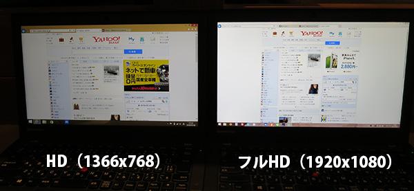 X260 フルHDとHDの違い 液晶を並べてみる