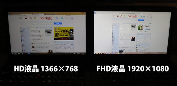 ThinkPad X260 FHDとHD液晶 並べて表示の違い