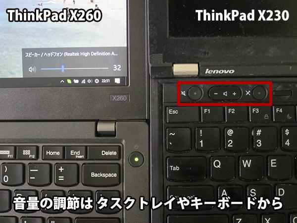 X260 X230のような独立したミュートボタンや音量スイッチはない